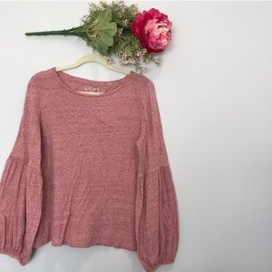 Loft | Lantern Ballon Cotton Long Sleeve Tee SZ M